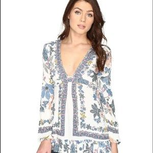 Free People Floral Tunic Violet Hill 8 Cream Blue